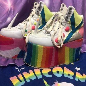 YRU unicorn rainbow platforms size 5